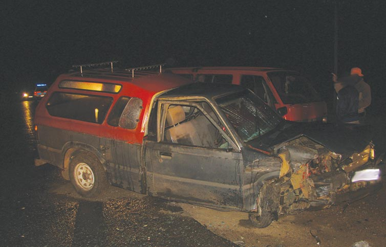 The bakkie after the accident