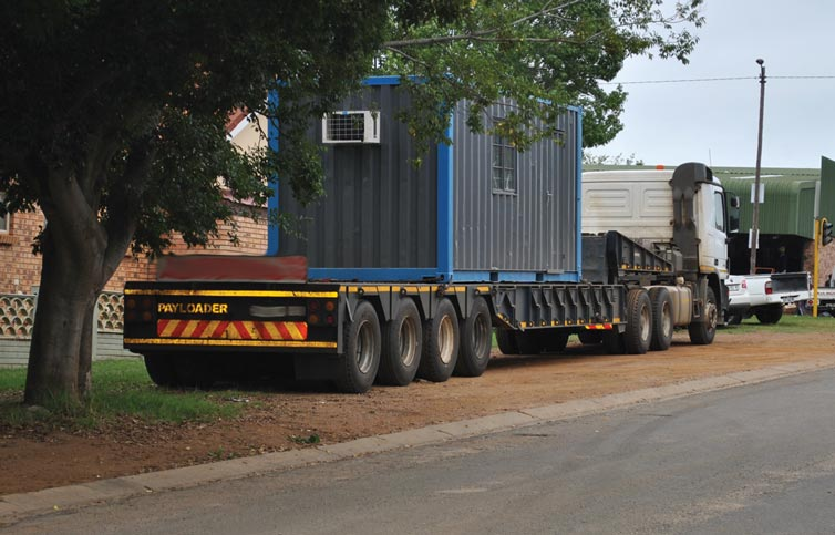 The abnormal load vehicle just after it had been parked