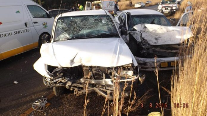 The bakkie then collided head on with an oncoming Toyota Camry and then also collided with a passing Audi.