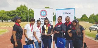 The Gert Sibande District women's relay team won
