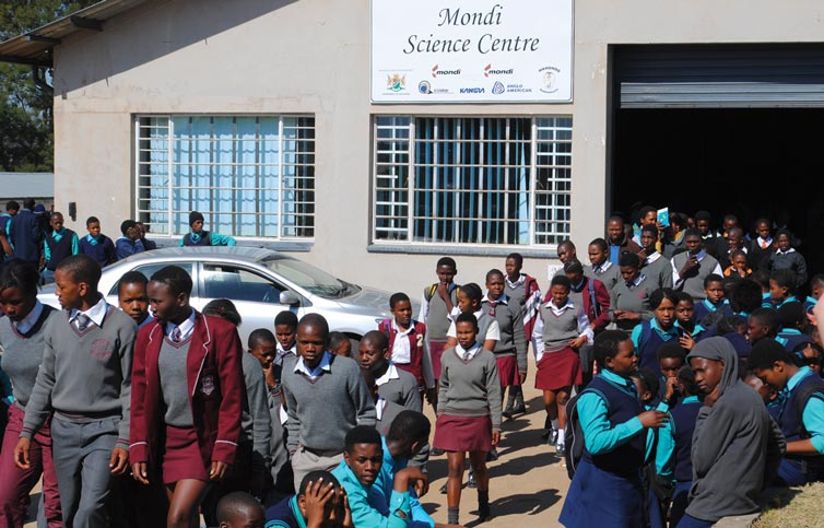 A constant stream of students moving in and out of the Mondi Science Centre