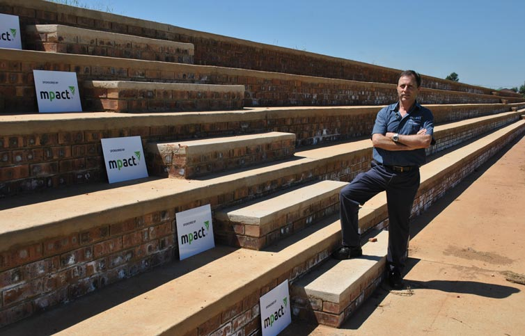 Mr Johan de Waal, Engineering Manager at Mpact, at the recently completed brick and concrete pavilion