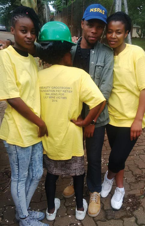 Beauty together with the team from Mkhondo FM dressed in the t-shirts showing what their walk was all about