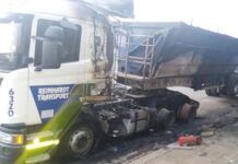 Fire damages property and truck