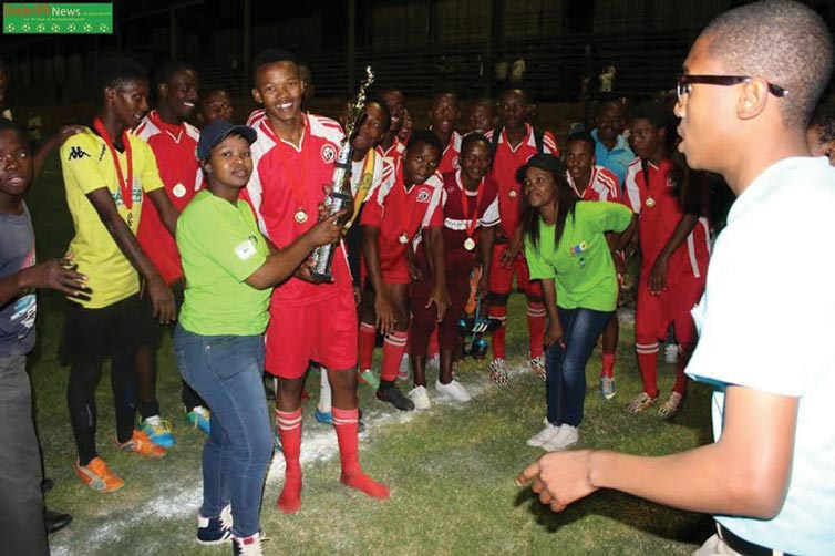 Ndlela High boys receive their trophy
