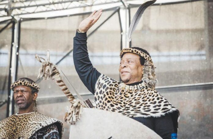King Goodwill Zwelithini greeting the public (photo credit eNCA)