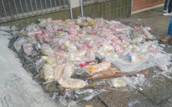 Rotten food found on pavement
